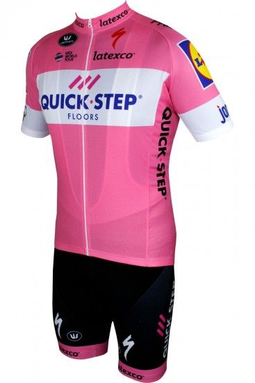 Quick-Step Floors 2018 Giro Special Edition Set Rosa (Radtrikot Langer Rv + Trägerhose)